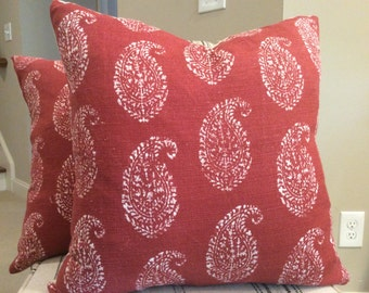 "Peter Dunham ""Like""  Pillow Cover in Paisley ""Kashmir"" Red and Tea Stain Linen, White Linen Backing, Choose Size"