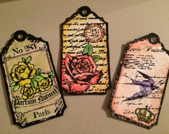 Handmade tags, stamped tags , watercolour tags, scrapbooking embellishments, tag for cards, gifts tags, floral tags, craft supplies