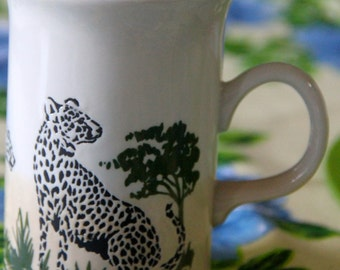 Vintage  Leopard on African Plains scene  1970's  ceramic coffee mug