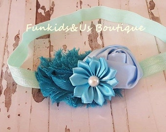 Blue teal headband- Blue Turquoise Baby headband- Teal headband- flower headband, floral headband,