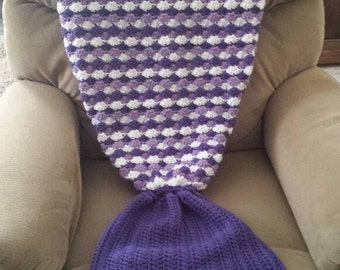 Crochet Mermaid Tail Lap Blanket for Children, Teens, and Adults