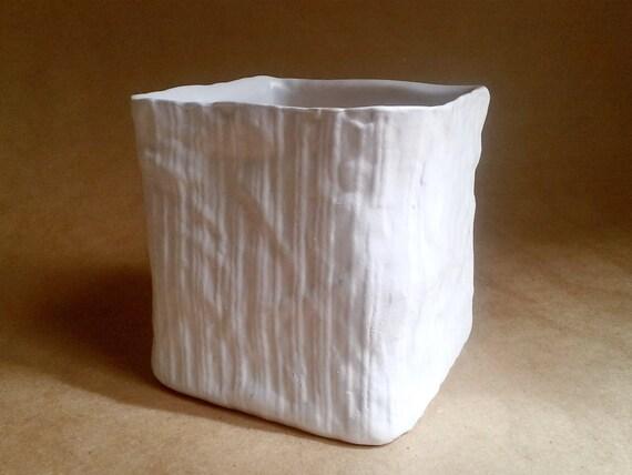 ceramic linen vase trompe l 39 oeil fabric textured matte. Black Bedroom Furniture Sets. Home Design Ideas