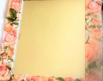 Cottage Chic Rose / Peach Flower Decoupage Wooden Mirror