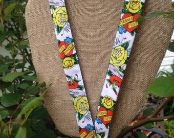 Ed Hardy Yellow Rose Lanyard ID Badge