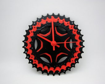 Black & Red Bicycle Gear Clock