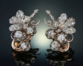 Georgian 4.00 Ct diamond bountiful grapevine cluster earrings