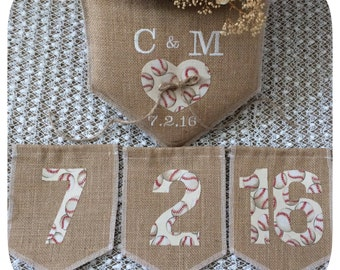 Baseball themed set, Wedding Ring Pillow and Save the Date,Personalized, home plate ring pillow + Save the Date banner, Product ID# 2014-022