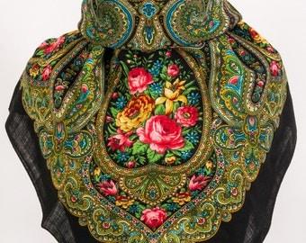 Russian, Authentic, Original, Pavlovo Posad Shawl, Scarf 100% Wool no fringe