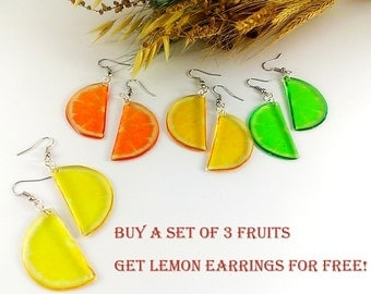 Fruit earrings Women gift under 15 Orange earrings Mother gift For twins Lime earrings Housewarming gift For coworker Fruit slices lemon