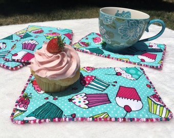 Cupcake Party Table Decor, Cupcake Table Topper, Snack Mat, Aqua Place Mat,