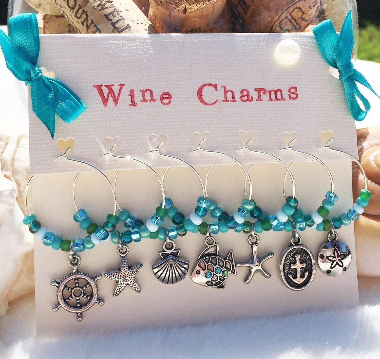 Aqua Beach Wine Charms Beach Wedding Favors By LasmasCreations