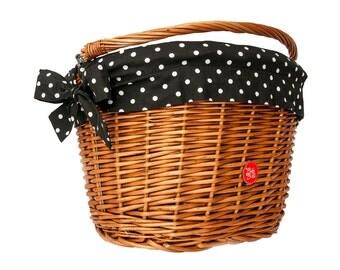 Bicycle Basket Liner, Bike Belle Polka Black