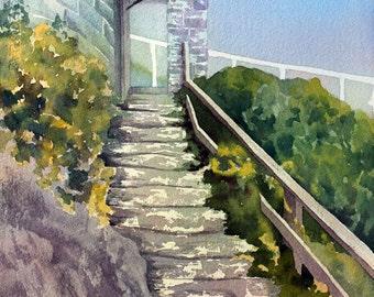 Barbados Stairway II, an original watercolor painting
