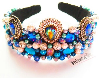 Baroque Headband and bead embroidered headpiece, wedding bridal crown DG headband, handmade headband, beadwork hairrim dolce gabbana, tiara