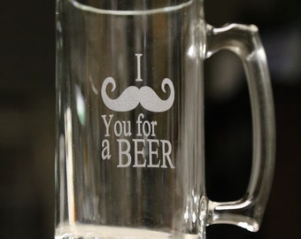 I mustache (Must ask) you for a beer glass mug