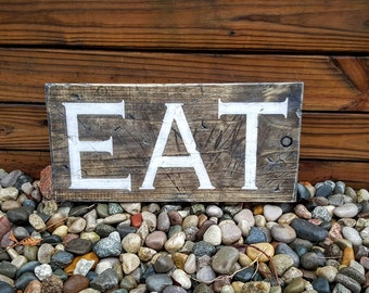 Eat Sign, Kitchen Sign, Kitchen Decor, Wooden Signs, Kitchen Signs, Distressed Eat Sign, Home Decor, Wooden Kitchen, Wood Signs, Kitchen