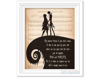 "The Nightmare Before Christmas Art Jack and Sally ""My dearest friend"" Quote Print Wedding Decor Wall Art Poster Fine Art Print Gift (No.254)"