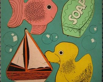 Vintage Rubber Ducky Bath Playskool Hardboard Wood Puzzle