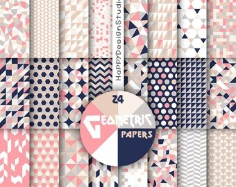 Coral & navy digital paper tan beige pink navy blue white pattern geometric background geometrical scrapbook invite card making nautical