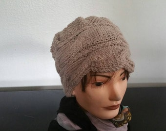 Beige Hand Knit Cable Hat Mohair And Acrylic