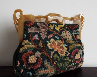 Vintage 1940's American Tapestry Clutch Purse Carpet Handbag Tapestry Purse With Lucite handle Evening Bag