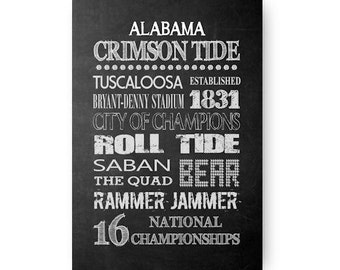 University of Alabama Crimson Tide Chalkboard Digital Download