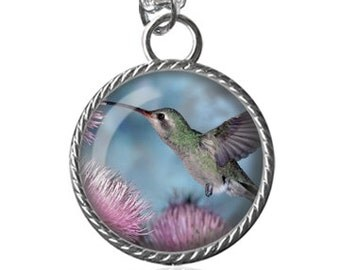 Hummingbird Necklace, Bird Lovers Image Pendant Key Chain Handmade