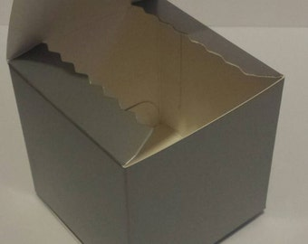12 3x3x3 glossy silver kraft favor box/treat box/ornament