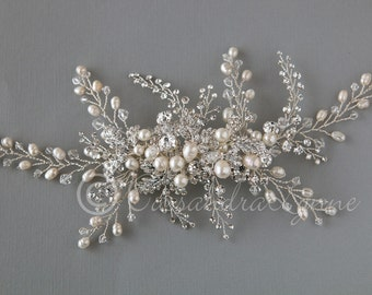 Large Wedding Comb of Ivory Pearl and Crystal Sprays Rhinestone Branches Bridal Headpiece Backpiece