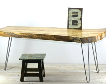 "Live Edge Spalted Maple Coffee Table with Vintage Industrial Hairpin Legs ""Brooks"""