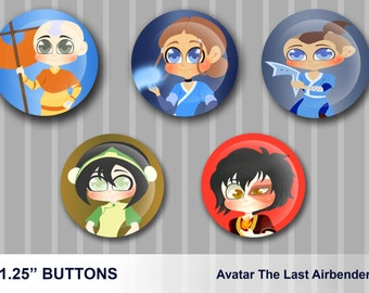 "Avatar The Last Airbender Button Set - Size 1.25"" - Avatar Aang Button - Katara Button - Sokka Button - Toph Button - Zuko Button - Buttons"