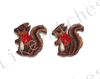Set 2 pcs. Little Brown Squirrels Red Ribbon - Cute Patches - Animal Print New Sew / Iron on Patches Embroidered Applique Size 2.9cm.x2.9cm.