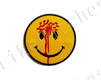 Smiley Face & Blood Funny Yellow Patch New Sew / Iron On Patch Embroidered Applique Size 6.5cm.x6.5cm.