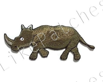 Rhinoceros - Wild Animal Art - Cute Patch New Sew / Iron on Patch Embroidered Applique Size 12.1cm.x4.6cm.
