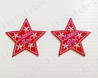 Set 2pcs. Little Girl Red Star New Sew / Iron On Patch Embroidery Applique Size 4.2cm.x4.2cm.