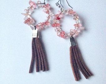 Quartz tassel earrings