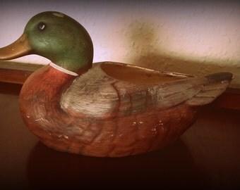 Vintage 50s Life Like Mallard Duck California Pottery Ceramic Planter