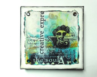 Creative Expression 3, 6 x 6 Canvas, Collage with Face and Words, Blues Greens Blacks, Art Theme