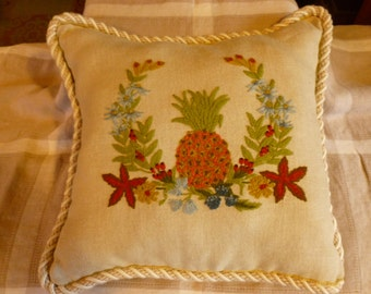 Hand Made Embroidered Crewelwork Pillow