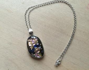 Vintage Sterling Silver .925 Modernist Art Glass Pendant Necklace