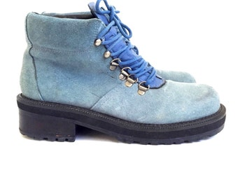Vintage 90s Blue Suede Hiking Boots US womens 6