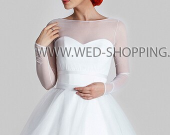 Tulle Bolero Jacket long sleeves stretch tulle Wedding Jacket with  ivory and white E1605 back fastening buttons tulle top cover shoulders
