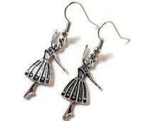 Silver Ballerina Earrings, Ballerina Charm Earrings, Dancer Earrings, Ballet Jewelry, Teen Jewelry, Stocking Stuffers, Gifts under 5 Dollars