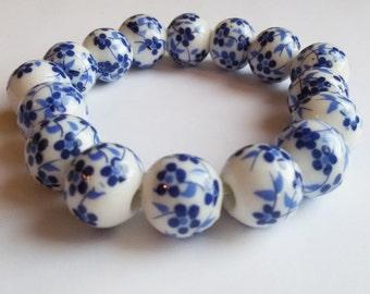EXQUISITE 2 kinds of White and blue ceramic bracelet, blue flower bracelet, blue and white jewelry, ceramic jewelry,