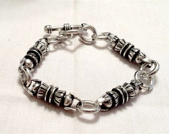 Sterling Silver Lovely Unusual Heavy Bracelet Links Modern Toggle Clasp Vintage