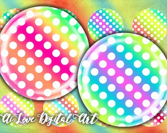 Instant download, Polka Dot, digital collage sheet 1.5 inch, 30mm, 1 inch circle digital download cabochon bottlecap images, jewelry making