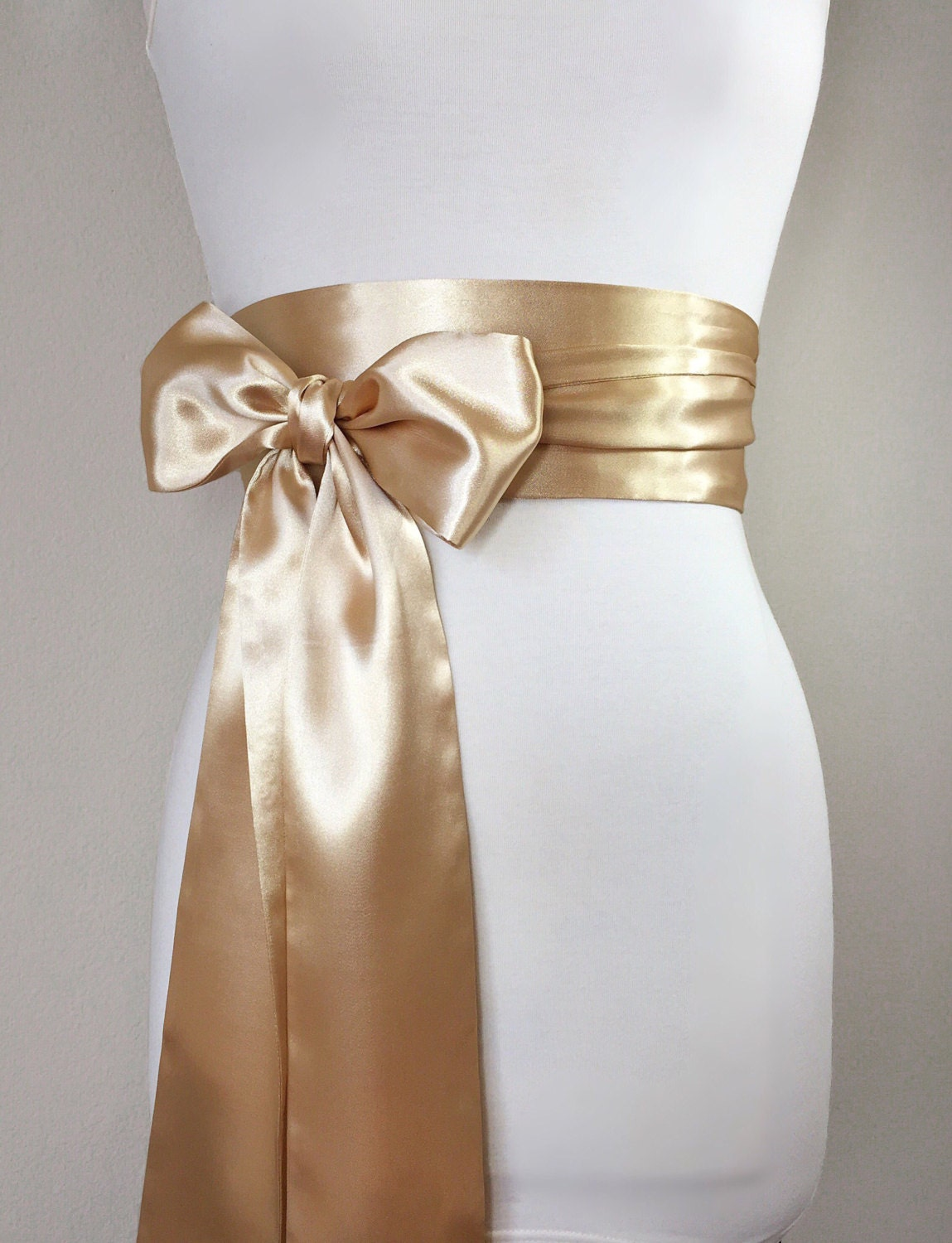 Pale gold sash gold satin sash light gold wedding dress for Satin belt for wedding dress