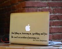 John Betjeman Anglesey poem Laptop Macbook Decal Sticker