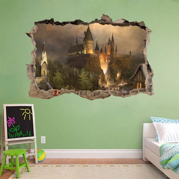 Wall Art Stickers Harry Potter : Hogwarts harry potter smashed wall decal by printadream