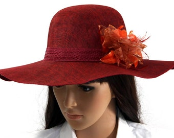 Women Ladies Elegant Wide Brim Summer Hat With Flower